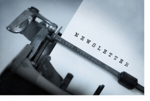 Vintage inscription made by old typewriter, Newsletter